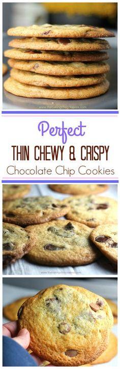 Best Thin & Crispy Chocolate Chip Cookies via @https://www.pinterest.com/BaknChocolaTess/