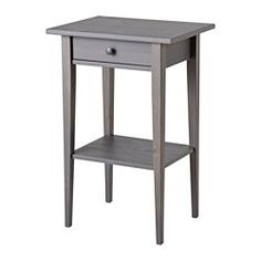 IKEA - HEMNES, Nightstand, dark gray stained, , Smooth running drawer with pull-out stop.Made of solid wood, which is a durable and warm natural material.