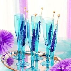 Rock candy swizzle sticks for a bridal treat?! Yum. Tasty with tonic water, punch or bubbly...and look amazing in colorful sheer champagne flutes.