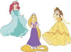 Peel-and-stick removable Disney Princess wall decals for nursery, kids room, playroom or classroom. A beautiful set of wall stickers, featuring Ariel, Belle and Rapunzel