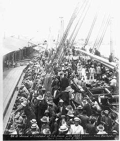 1909 Arrival of SS. Ancon with 1500 laborers from Barbados arrive at the Cristobal Port in Colon, Panama.