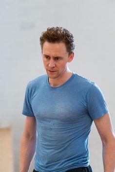 Tom Hiddleston, Coriolanus rehearsal - aka the semi-transparent shirt of death.