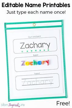 Free Editable Name Tracing Printable Worksheets for Name Practice Editable name tracing and spelling printables. Type each name once and all of the pages are filled in for you! Perfect for preschool name practice. Kindergarten Names, Preschool Names, Preschool Literacy, Free Preschool, Preschool Printables, Preschool Sign In Ideas, Name Writing Activities, Name Activities Preschool, Writing Center Preschool
