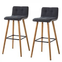 Tabouret de bar Troon (lot de 2) - Chêne massif / Tissu - Gris / Anthracite