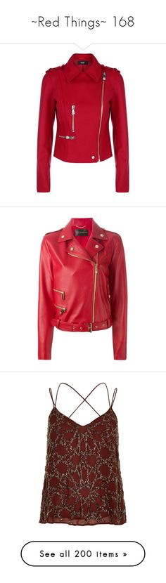 """""""~Red Things~ 168"""" by my-shiny-shackles ❤ liked on Polyvore featuring red, outerwear, jackets, versace, slim motorcycle jacket, slim biker jacket, red motorcycle jacket, rider jacket, motorcycle jacket and long sleeve jacket"""
