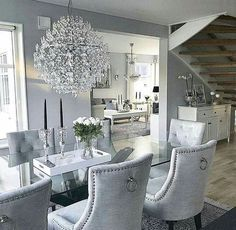 Luxury 24 Modern Table Dining Room Design In 2019 - Home Decor Interior Dining Room Table Decor, Dining Room Design, Dining Room Furniture, Living Room Decor, Glamour Living Room, Dining Rooms, Furniture Design, Furniture Stores, Dining Room Chandeliers