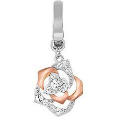 Swarovski Pave Rose Charm