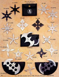 Throwing Stars, yes i know its not swords or daggers but its cool Armas Ninja, Shuriken, Cool Knives, Knives And Swords, Ninja Gear, Martial Arts Weapons, Ninja Weapons, Throwing Knives, Fantasy Weapons