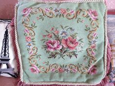 Green & Pink Needlepoint Floral Piece Needlepoint by MyFrenchTexas