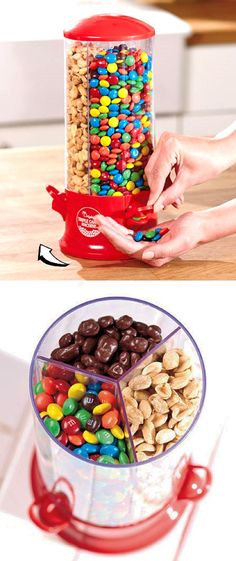 I'm telling you, this is not your ordinary sweet storage. Check it out here==> http://gwyl.io/three-way-candy-dispenser/ | Three Way Candy Dispenser