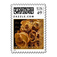 LOVE Wedding GOLD Roses and  ANTIQUE GOLD Lace Postage Stamp