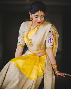 Designer Blouse Designs for Sarees - Kurti Blouse Indian Designer Outfits, Indian Outfits, Yellow Costume, Saree Blouse Neck Designs, Blouse Patterns, Sumo, Yellow Saree, Saree Look, Kanchipuram Saree