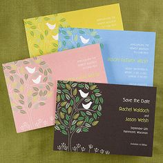 Bird Themed Wedding Ideas - birds in a tree Save the Date (Card Link - http://occasionsinprint.carlsoncraft.com/Weddings/Save-the-Date/EA-EA65B5MCH-Lovebirds-Save-the-Date-Card--Chocolate.pro)