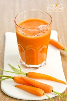 Carrot Juice Recipe:  You'll need about 7-8 long carrots to make a nice glass of carrot juice. Add other fruits and veggies too- its a versatile vegetable when juicing.  Carrots pair well with apples, celery, cantaloupe and greens.  Here's more recipes to add variety in your kitchen....