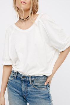 """American made tee with a relaxed look and feel. Features rolled sleeve cuffs and an easy, oversized shape. Measurements for size Small Bust: 51"""" = 129.54 cm Length: 24"""" = 60.96 cm Sleeve Length: 16.5"""" = 41.91 cm    Relaxed Oversized Tee by Free People. Clothing - Tops - Tees & Tanks Beverly Hills, Los Angeles, California"""