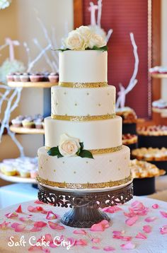 Salt Cake City (www.SaltCakeCity.com) gold glitter and gold dragee quilted wedding cake Gold Glitter, Wedding Stuff, Wedding Cakes, Salt, Table Decorations, City, Desserts, Food, Tailgate Desserts