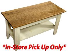 Painted coffee table with dark wood top. Available in multiple colors. Painted Coffee Tables, Old Doors, Wood Ideas, Dark Wood, Entryway Bench, Stool, Windows, Furniture, Home Decor