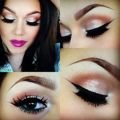 A simple eye look, with a bold, bright pink on the lips.