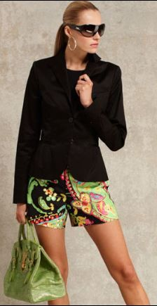 Ralph Lauren 2013 Resort. Pairing simple black blazer and top with tropical green print