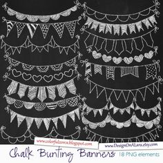 Chalk Bunting Banners, Chalk Banners Clip Art, Digital Banners, Hand Drawn Banners, Chalk ribbons, Banner ribbon garland, Chalkboard Bunting by DesignOnALara on Etsy