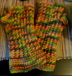 Hand-dyed and hand-knit fingerless mitts