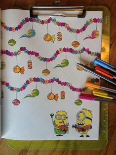 """Fun morning #coloring a #Minions luau in the """"Despicable Me 3"""" deluxe #coloringbook from @insighteditions .  Available here ==> http://amzn.to/2BxHaeE   #giftideas #HGG2017"""