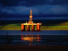 Sun On North Sea Oil Rig, Cromarty Firth, Scotland: 18x24 Photographic Print
