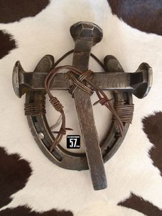 Railroad Spike Horseshoe Cross with Barbed Wire Metal Cross Horseshoe Art Metal…
