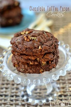 Unbelievably rich and fudgy, these bakery-style Chocolate Toffee Pecan Cookies are a chocolate lover's dream! | MomOnTimeout.com