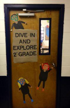 My beach theme classroom: hallway door...dive in and explore The Bible!