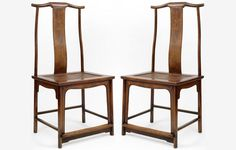 A pair of Ming Dynasty chairs in Huanghuali Wood Yokeback sidechairs. (in Dec At Ming Furniture gallery New York. Simple Furniture, Living Furniture, Wood Furniture, Furniture Design, Antique Chinese Furniture, Chinese Interior, Mahogany Color, Oriental Design, China