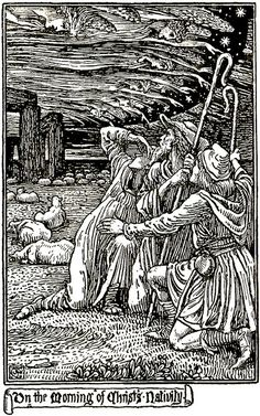"""On the Morning of Christ's Nativity"" by Walter Crane    ""A Book of Christmas Verse"" 1895     Walter Crane [English artist and illustrator 1845-1915]   	     	           	 	     	         	            ""A Book of Christmas Verse"" 1895 Wal..."