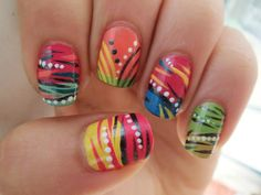 Jungle Fever Nails #colorful #zebra #stripes #funky #dots