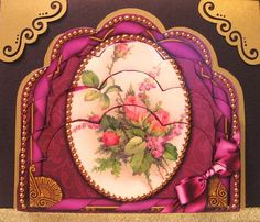 """Rose Bouquet Ornate Scalloped Bottom Stacker on Craftsuprint designed by Ann-marie Vaux - made by Darlene Handorff - Just simply gorgeous. I love the rich coloring in this pattern. It is a little card approx 5"""" x 51/2"""" but it does show well made at this size and could be added to and made as part of a larger card. I printed this out onto glossy photo paper and carefully cut out the scallop pieces. I used a very dark rich purple as the card base. I first put the layers together and before…"""