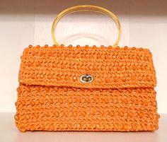 Raffia Beaded Handbag Orange Straw Purse by plattermatter