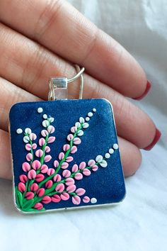 New collection polymer clay pendant. In stock.