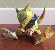 I made an Abra entirely of recycled soda cans for my design entrance portfolio. : pokemon