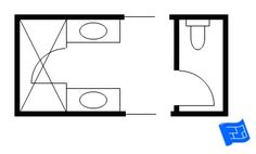 Jack and Jill bathroom floor plan with shower and a separate area for the toilet.