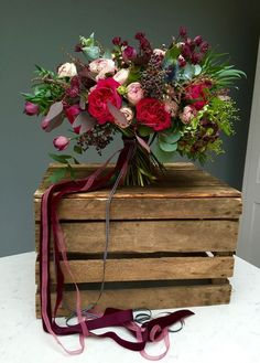 burgundy red and blush wedding bouquet