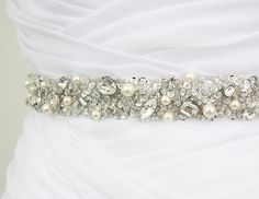 "Best Seller - MONACO II - 1"" Swarovski Pearls And Rhinestones Encrusted Bridal Sash, Wedding Beaded Belt, Crystal Belt on Etsy, $155.96 CAD"
