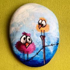 Cute funny birds painted