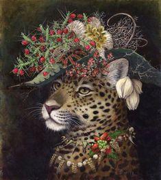 By Artist Carolyn Schmitz. Art And Illustration, Illustrations Posters, Wild Animals Pictures, Art Pictures, Fantasy Kunst, Fantasy Art, Tim Walker, Human Art, Whimsical Art