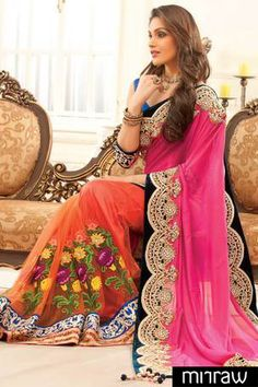 Stylish Light orange Georgette & Net combo thread worked saree in pink zari worked pallu & multi colour border along with royal blue blouse in peacock blue border to give you a mystic look in wedding.