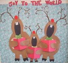 Reindeer Christmas bulletin, I want to do this for our office wall or maybe the slider window...cute!