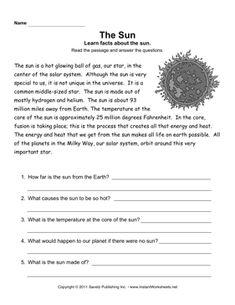 The Sun comprehension worksheet