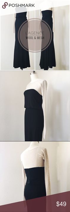 """L'AGENCE Wool Maxi Dress with nude mesh sleeves L'AGENCE Black Wool Maxi Dress, Retail Price: $499, size tag missing, fits like a small / 0, length 63"""" bust 34"""" waist 26"""" hip 35"""", Dramatic wool skirt with a fishtail hem, hip hugging high waist, jersey bodice, oatmeal beige open mesh yoke and sleeves. A stunner. Only issue is the wool at the back zipper, not noticeable when worn, but some punctures, can be repaired with excess length of hem at the dry cleaners, unless you're 6 ft tall, then…"""