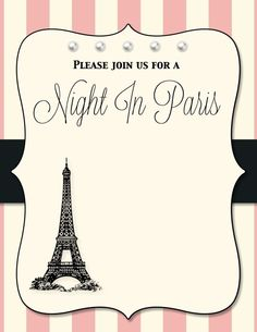 Invite Paris Themed Birthday Party, Paris Party, 11th Birthday, Birthday Party Themes, Paris Invitations, Birthday Invitations, Paris Clipart, Paris Sweet 16, Gala Themes
