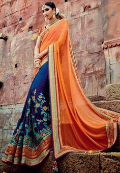 Glamorous Royal Blue and Golden Orange Saree