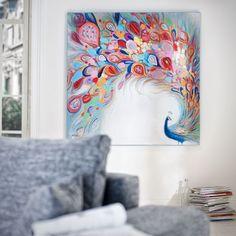 Farbenfrohes XL Bild Pfau Acryl auf Leinwand bunt