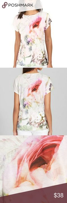 Ted baker Women's Eamila Peony Print T-Shirt Designer spring floral top by ted bsker size 0 xx-small. Barely worn. Short sleeves, light and beautiful Ted Baker Tops Tees - Short Sleeve